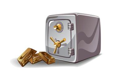 Safe and gold bars vector illustration