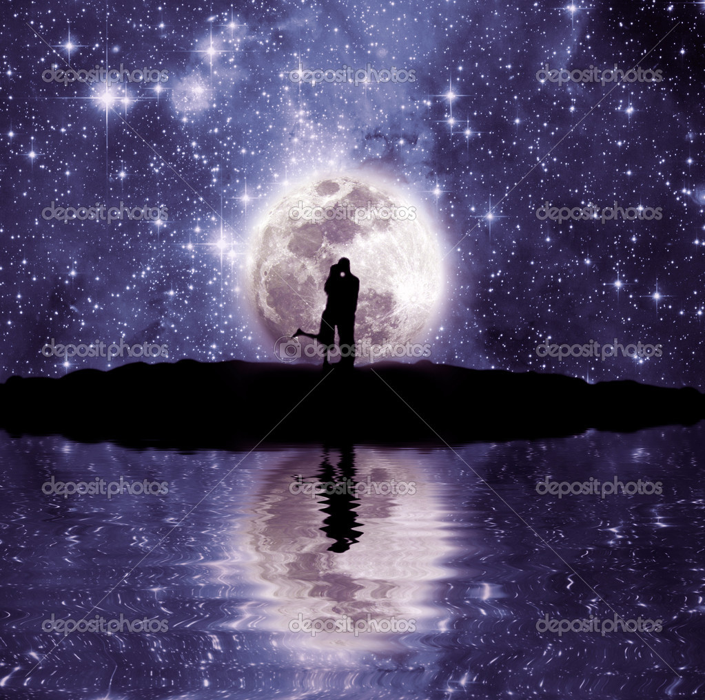Lovers in front of the moon
