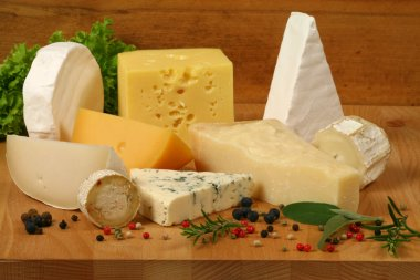 Variety of cheese: ementaler, gouda, Danish blue soft cheese and other hard cheeses. Herbs and spices. stock vector