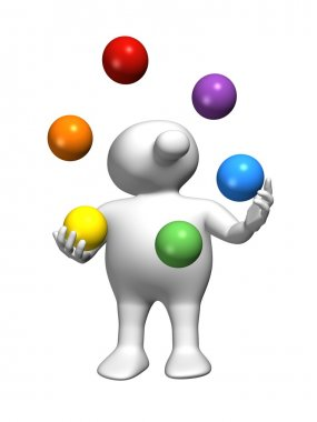 Logoman juggling with colors