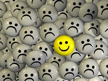 One positive yellow smilie between negative grey smilies stock vector