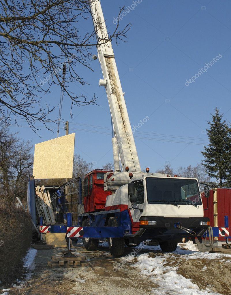 Bau Eines Holzhauses Auch Ein Mobilkran Auf Winterzeit U2014 Foto Von Prill