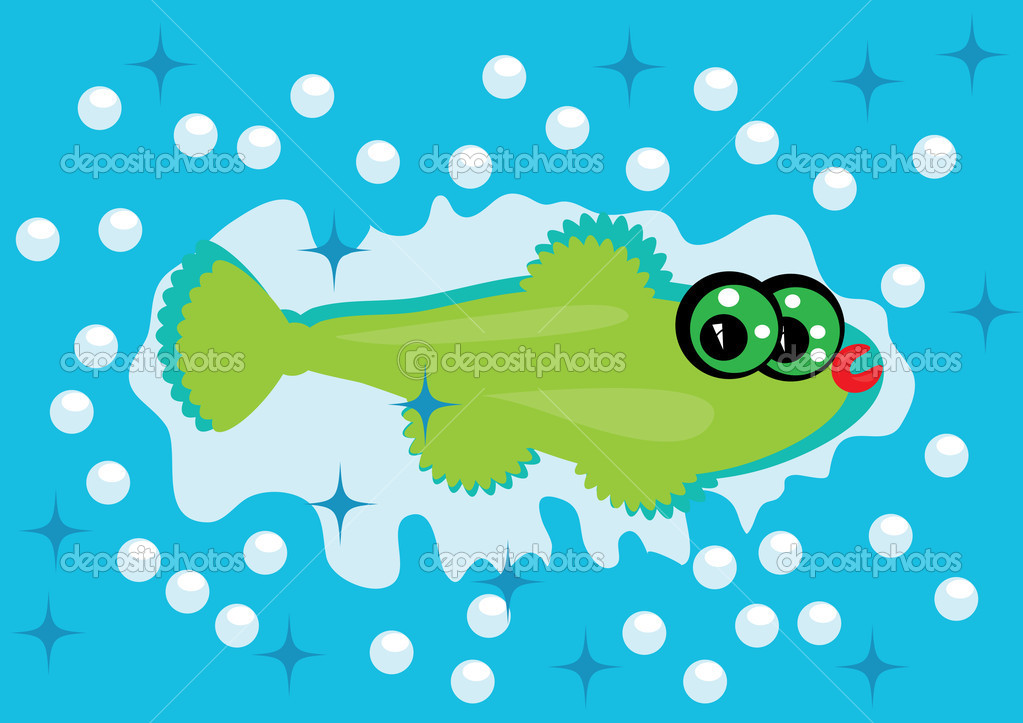 cartoon fish on isolated background