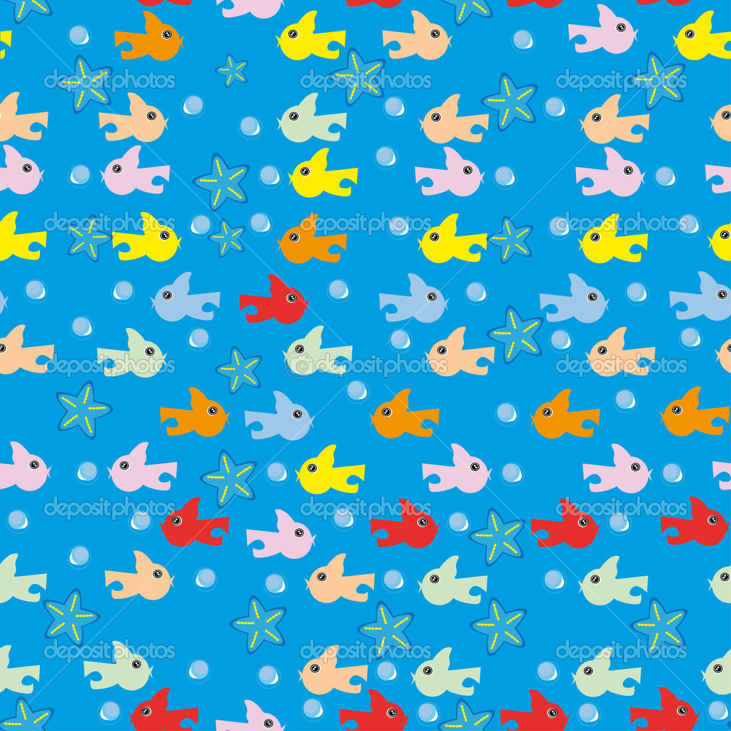 Abstract underwater background with small fishes