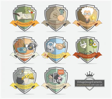 Design icons set with badges shields