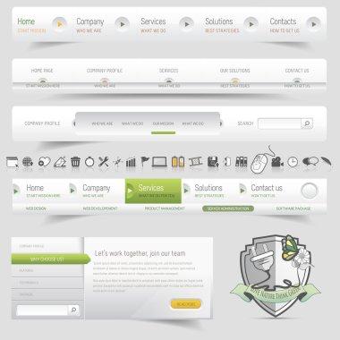Web design template navigation set with icon set