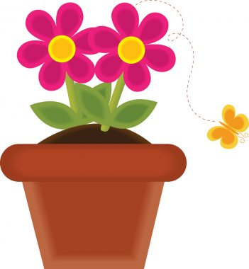 Clip Art Illustration of a Spring Flower Growing in a Pot