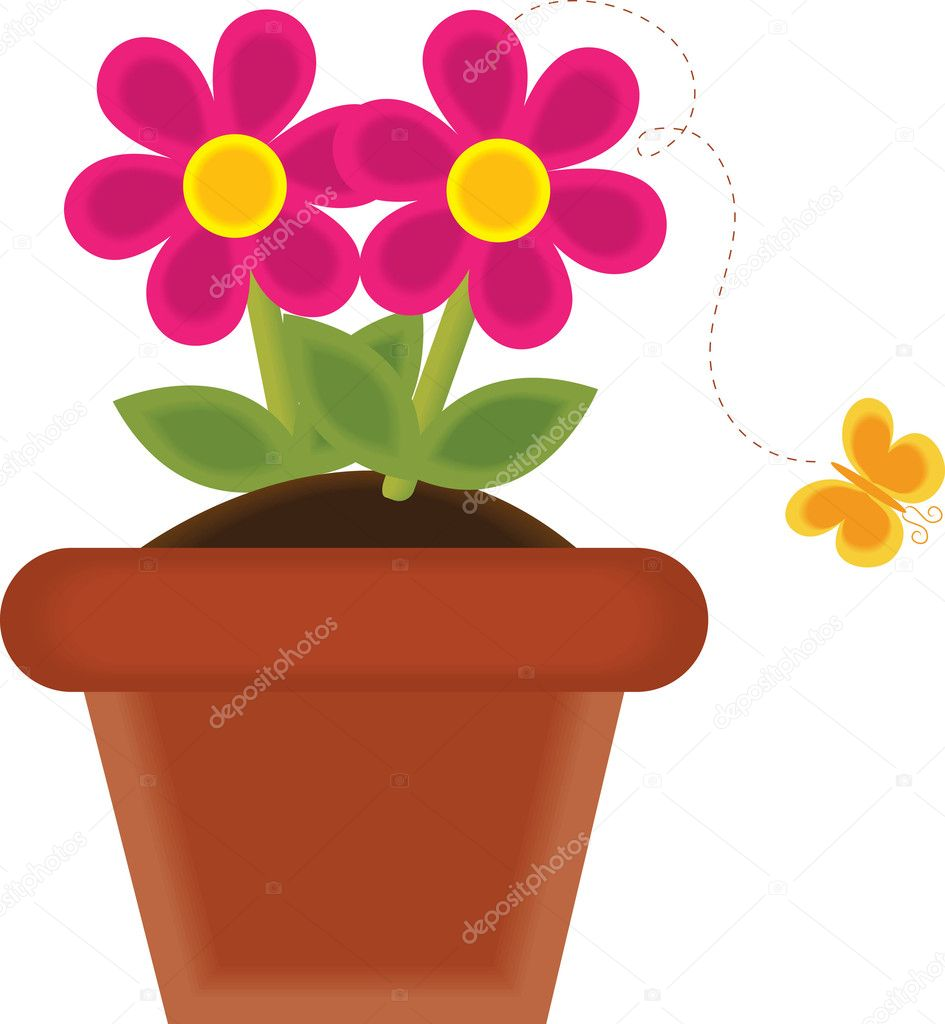 Clip Art Illustration Of A Spring Flower Growing In A Pot Stock