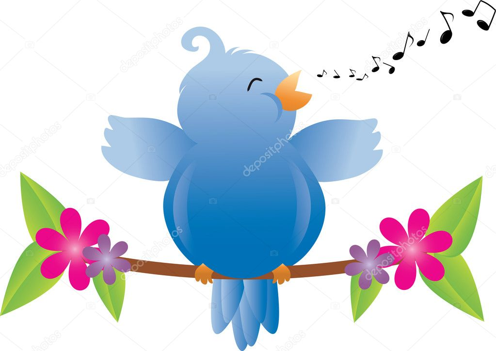 Clip Art Illustration Of A Fat Little Bird Singing On A Tree Bra