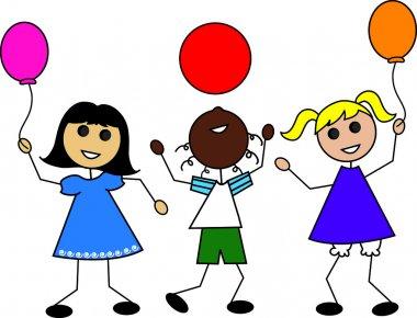 Clip Art Illustration of Cartoon Kids with Balloons
