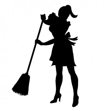 Clip Art Illustration of a Silhouette of a Retro Maid Sweeping