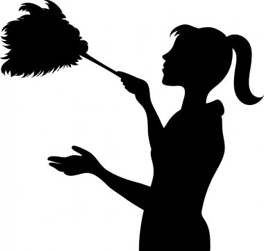 Clip Art Illustration of the Silhouette of a Maid Dusting with a