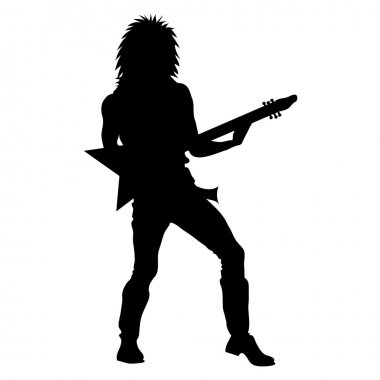 Clip Art Illustration of a Rock Star Playing Guitar Silhouette