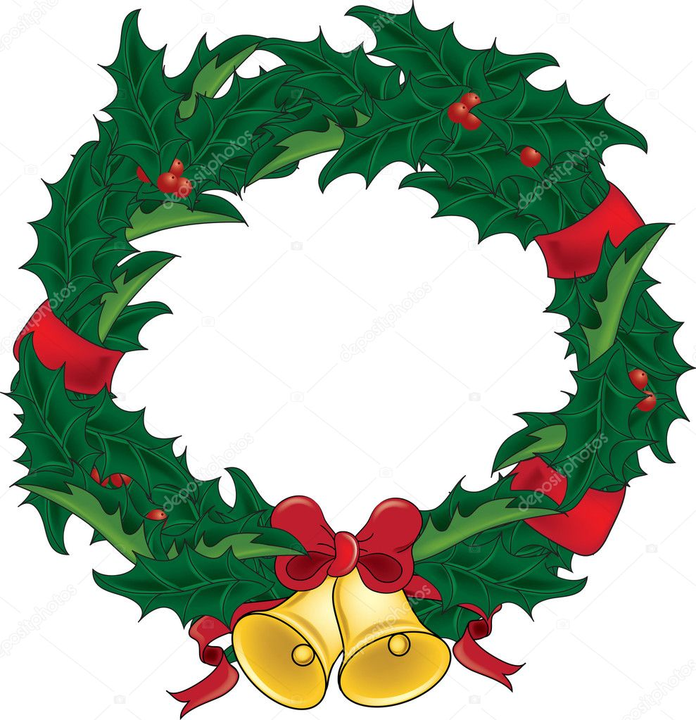 clip art illustration of a holly christmas wreath with bells stock rh depositphotos com christmas clipart wreath clipart christmas wreath border