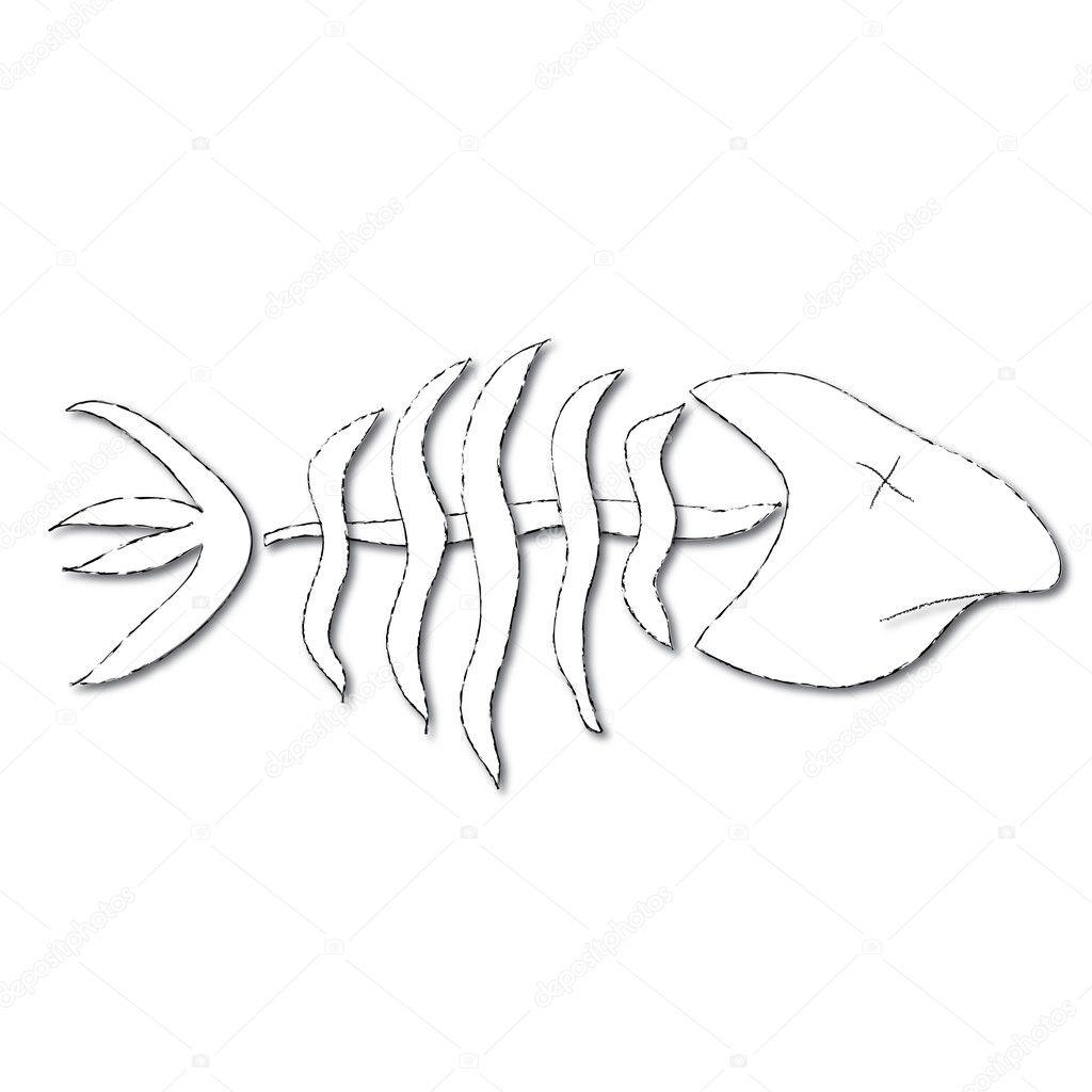 Clip Art Illustration of Dead Fish Bones
