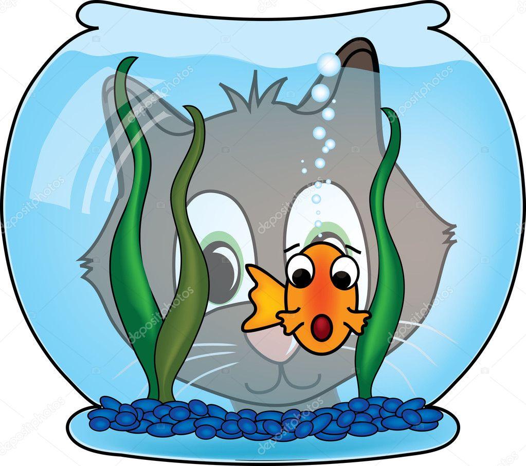 彼の魚の金魚を見る猫のクリップ アート イラスト — ストック写真