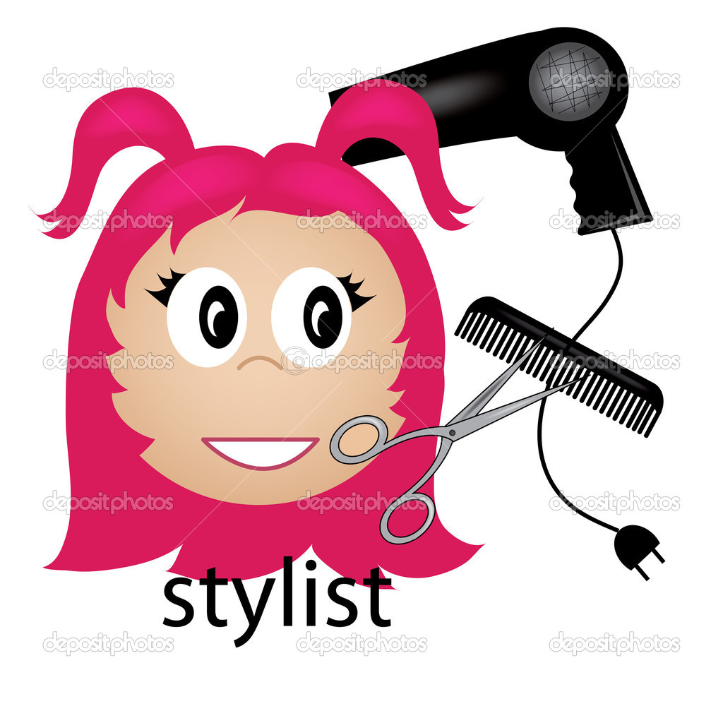 clip art illustration of a hair stylist occupation icon stock rh depositphotos com hair stylist scissors clipart hair stylist tools clipart