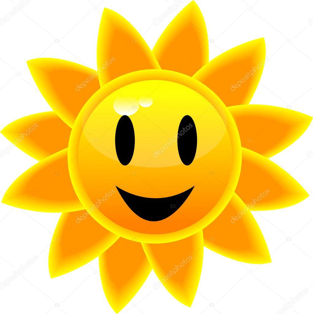 Clip Art Illustration of a SmilingTropical Sun Icon
