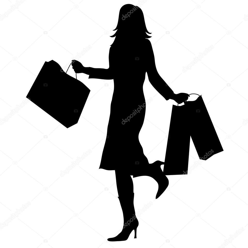 7e3136441c70 Illustrazione di clip art della silhouette di una donna con le borse della  spesa -vettore: clipart borsa spesa — Foto di ...