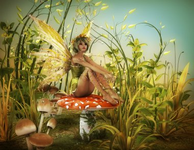 A little fairy is sitting on a fly agaric stock vector