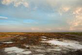 Solný pozemky v poušti gobi