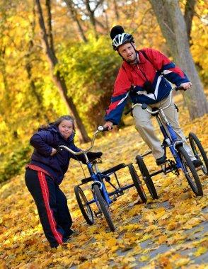 Down syndrome couple on bikes