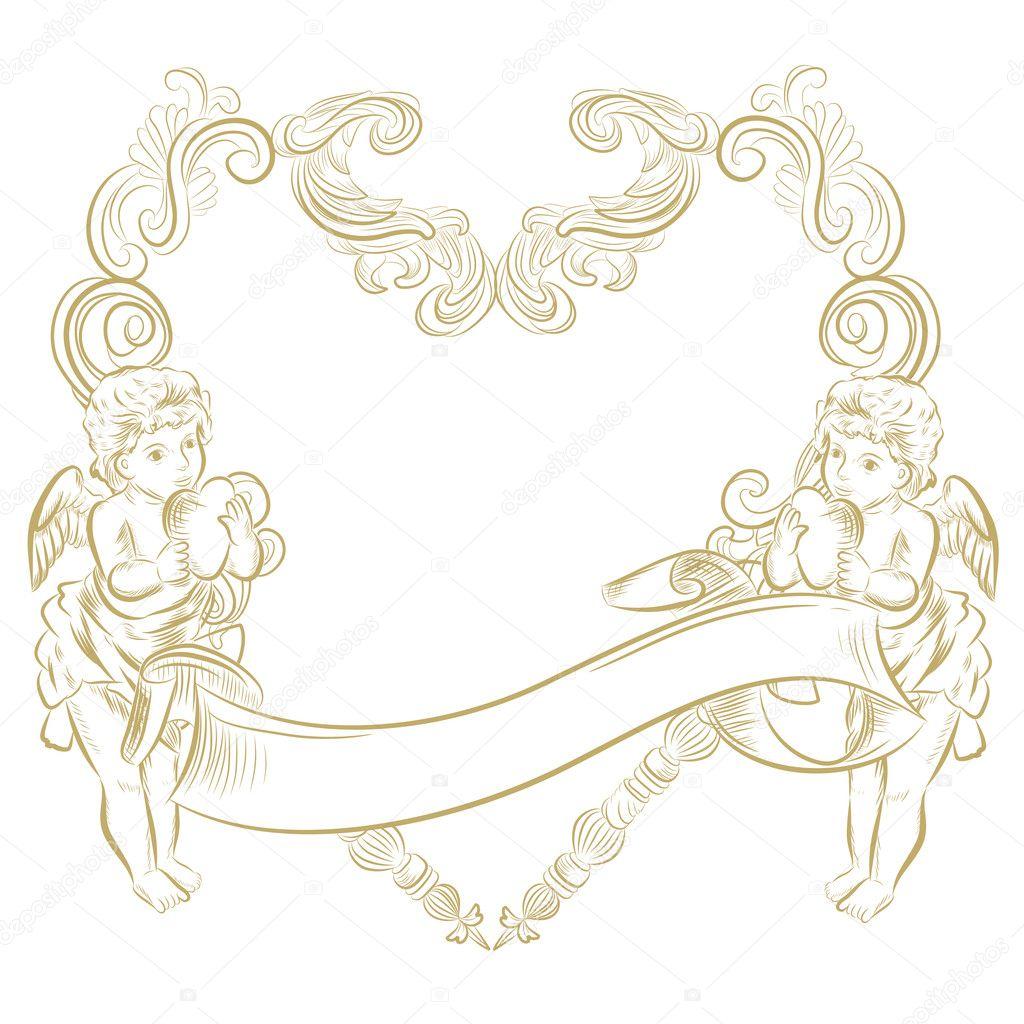 Romantic gold angels card