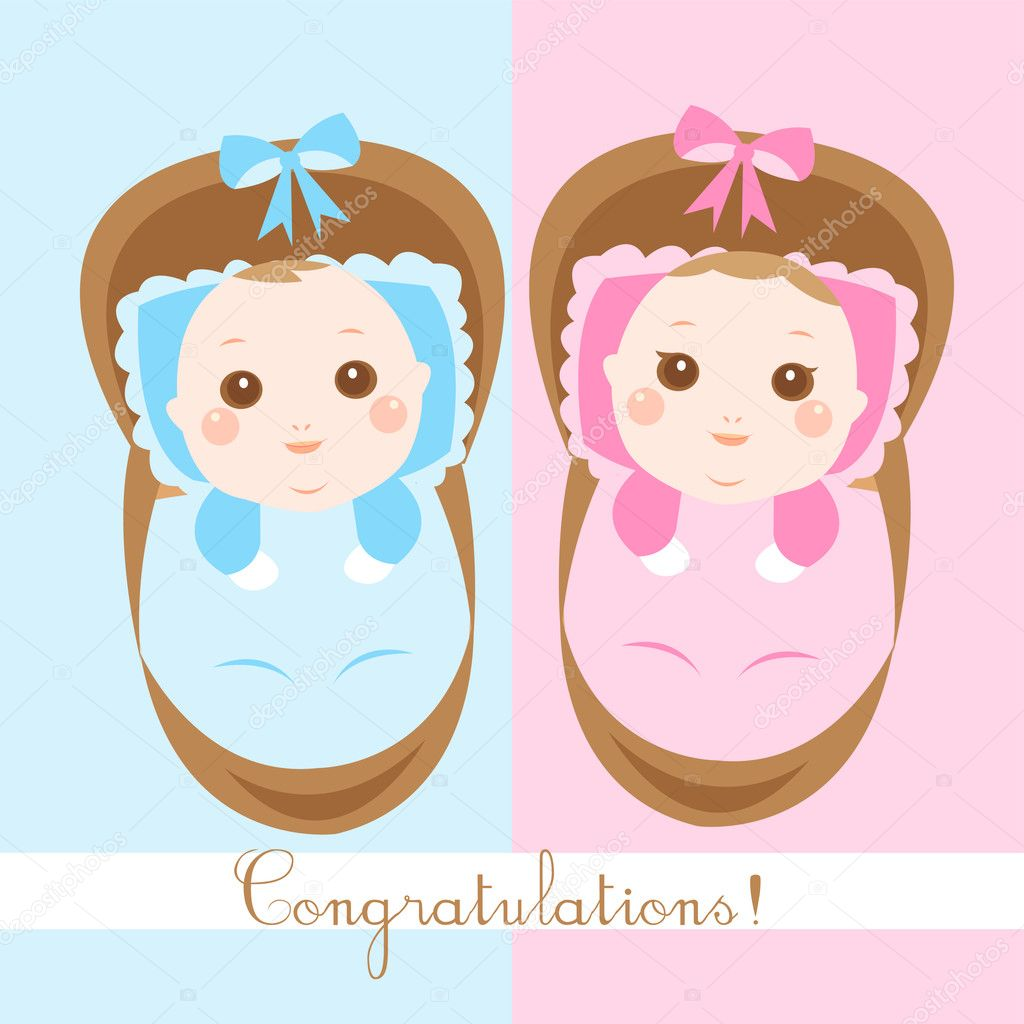 Cute New Born Babies Shower Card U2014 Stock Vector #7472420