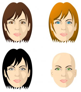 Women's faces, different color eyes and hair