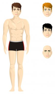 A half naked man, proportional body, with different version of hair