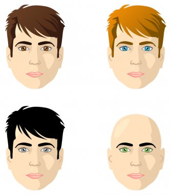 Men's faces, different color eyes and hair