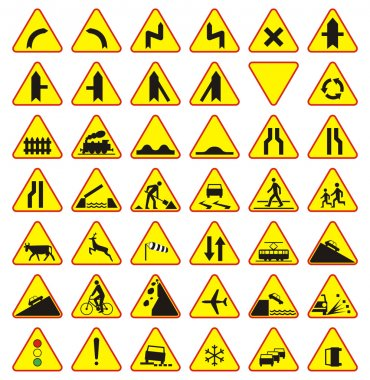 Road signs pack (warning signs), 42 pieces