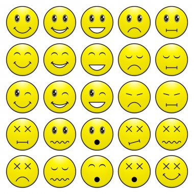Pack of faces (emoticons) with various emotions expression