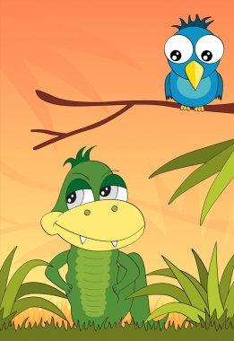 Crocodile and the bird in the jungle vector book illustration