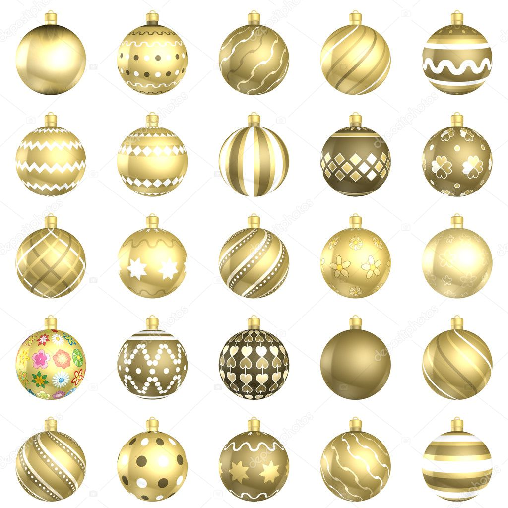 Christmas gold baubles big back 25 on white background for White christmas baubles