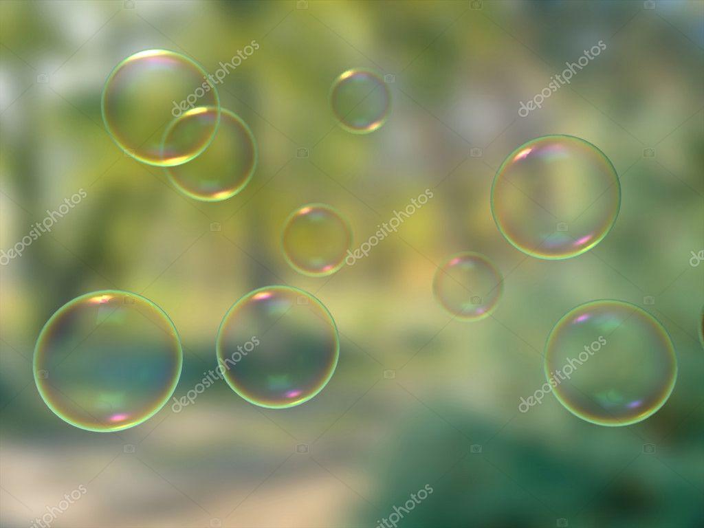 Soap Bubbles On Blur Background Wallpaper Stock Photo