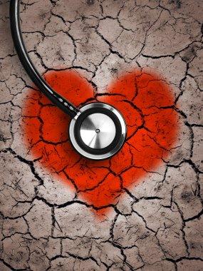 Heart in desert land and stethoscope stock vector