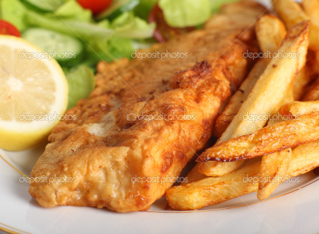 Battered fish with chips and salad stock photo paul for Pete s fish and chips owner murdered