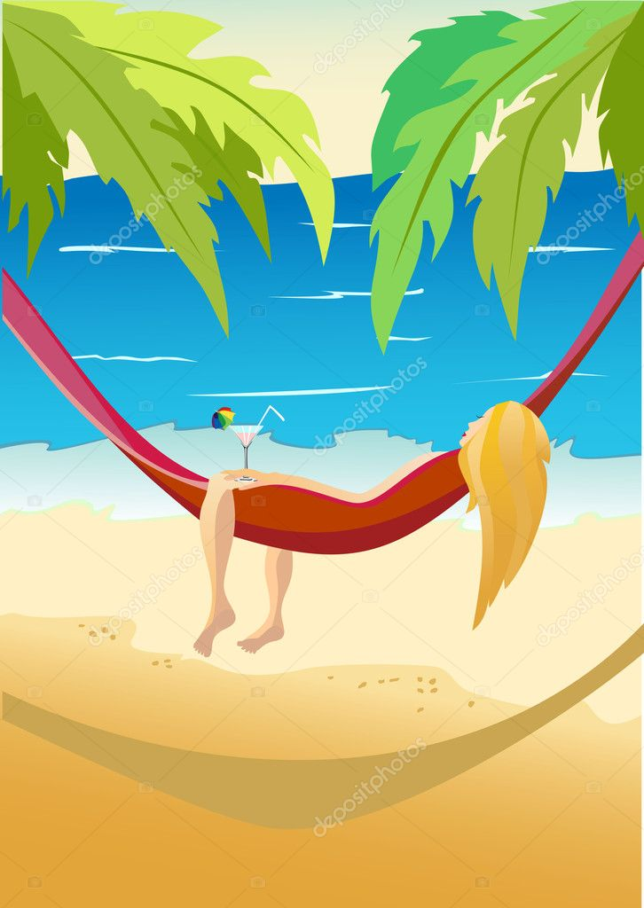 Pretty girl laying in a hammock on a sky background with sun and sea.