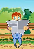 Vektorový obrázek. mladí čtenáři seděl na lavičce v parku přečíst časopis