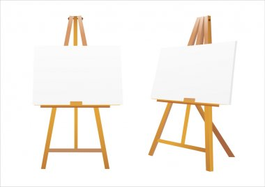 Isolated easel with empty canvas, Vector