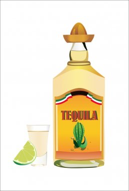 Tequila bottle with cup and lime on wite background.