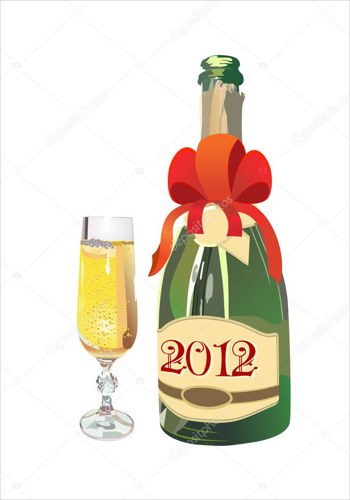 Bottle of Champagne in 2012 and New Year's drink.