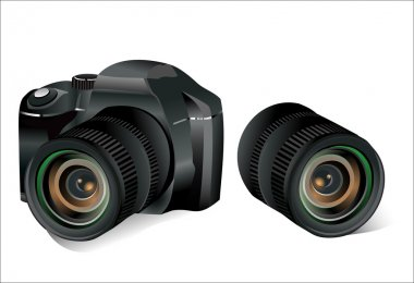 Black dslr camera and lens on a white background, vector