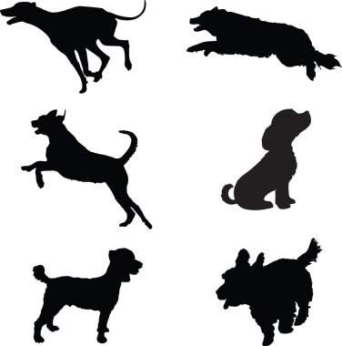 Six black silhouettes of dogs at play clip art vector