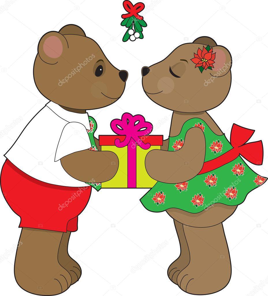 kissing bears mistletoe u2014 stock vector mkoudis 7177346