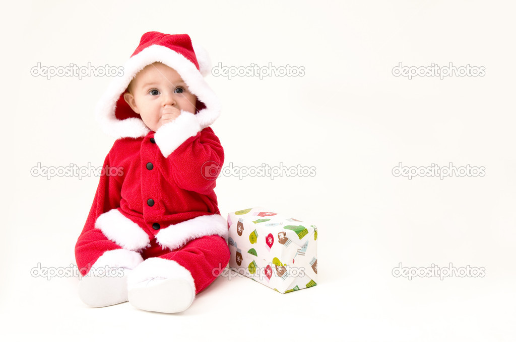 7360c5675 Baby Dressed Up in Christmas Outfit — Stock Photo © jacksonjesse ...