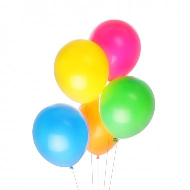 Five colorful baloons