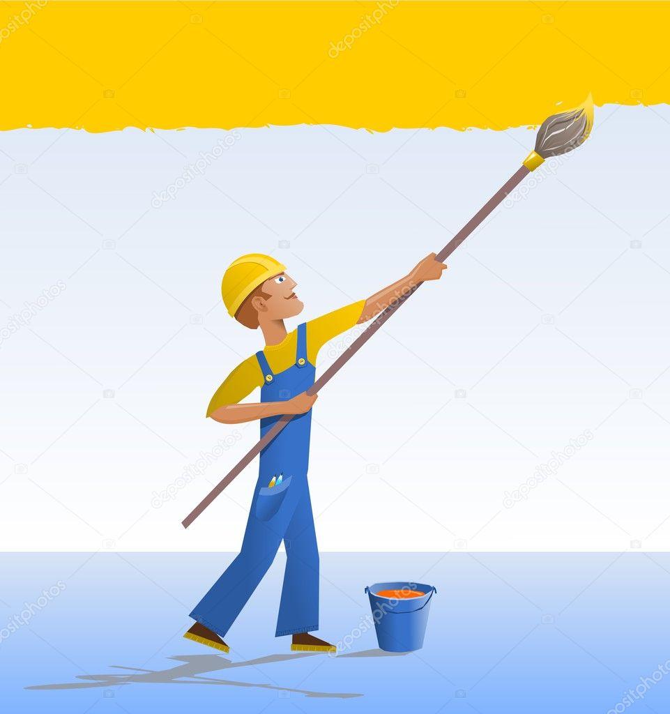 cartoon house painter u2014 stock vector zadvinskii 7676275