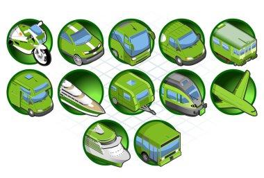Isometric icon set of vehicles